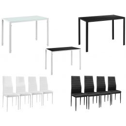 modern dining table with 4 padded chirsliving dining room glass plate table 105x60x75 cm