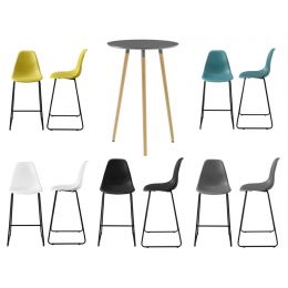 [en.casa] Round bar table - dark grey - 70x107cm - two design bar stools in different colours