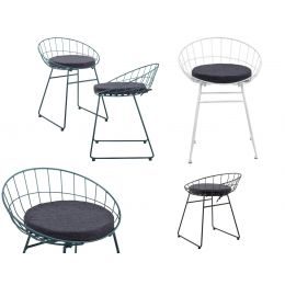 [en.casa]  DESIGN METAL CHAIR - 2 PIECES SET - 65X50X47 CM - WITH CUSHION