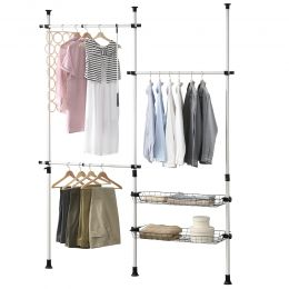 [en.casa] Telescopic Wardrobe with Shelves Clothes Hanger 110 - 305 cm Adjustable Length and Height  3xmax. 20 kg  2x15 kg Shelf Plastic Metal Black White