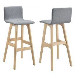 [en.casa] Two grey bar stools 98 x 48 x 49 cm