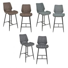[en.casa] Bar Stool Planica Kitchen Chair set of 2 Upholstered Textile/Leatherette 102,5x46,5x51cm