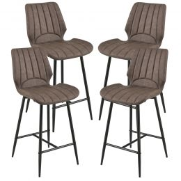 [en.casa] Bar Stool Planica Kitchen Chair set of 4 Upholstered Textile/Leatherette 102,5x46,5x51cm