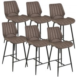 [en.casa] Bar Stool Planica Kitchen Chair set of 6 Upholstered Textile/Leatherette 102,5x46,5x51cm