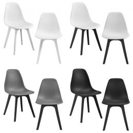 [en.casa] Dining Chair Set Lendava 2 pcs Minimal Design Plastic Chair 83x54x48 cm