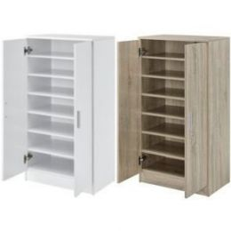 [en.casa] Shoe Rack Organizer Footwear Cabinet with 2 Doors and 7 Storage Departments Melamined Chipboard 108 x 55 x 35 cm