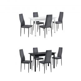 [en.casa] Dining Set Dining Table with 4 Padded Dining Chairs
