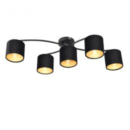 [lux.pro] Ceiling Lamp Pendant Light with 5 Caps E14 Metal and Flanel 83 x 54 x 18 cm Black
