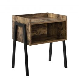 [en.casa] Stackable Nightstand Bedside Table with 2 Shelves MDF and Metal 52 x 42 x 35 cm Wood Colour and Black