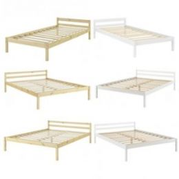 [en.casa] Bedframe from Pine Wood with Headboard