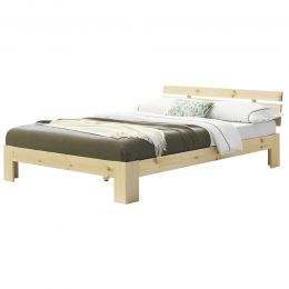 [en.casa] Double Bed Frame from Pine Wood with Headboard