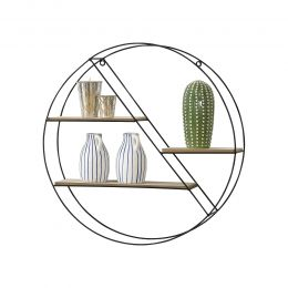 [en.casa] Wall-Mounted Round Shaped Floating Shelf with 3 Storage Surfaces 55x12x55cm Metal Wood Black