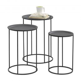 [en.casa] Coffee Table Nesting Table 3-Piece Set Different Sizes Storage Surface Black