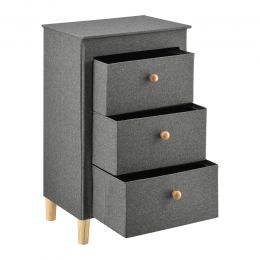 [pro.tec] Chest of 3 Drawers Cabinet Nightstand Grey MDF/Textile 82x49x33,5cm